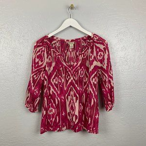 Lucky Brand XS Pink White Ikat Cotton Blouse